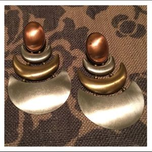 Vintage 3 Tone Metal Studded Earrings